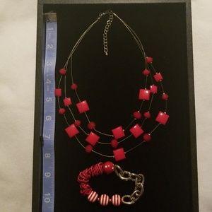 Wire & red bead necklace & stretch  bracelet
